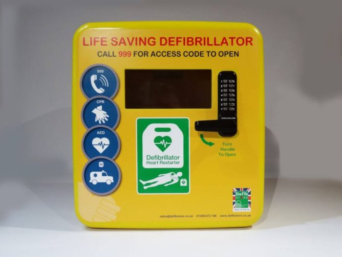 defibstore 4000 aed cabinet locked straight on