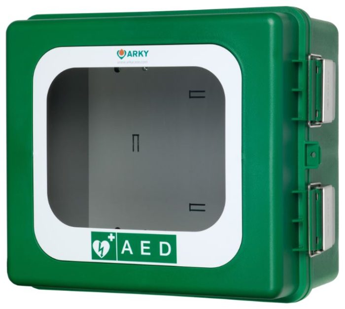 ARKY AED OUTDOOR Wall Cabinet (Green) WITH ALARM AND HEATING ELEMENT
